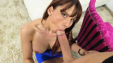 Big breasted MILF Amber Chase gives a great deep throat blowjob with that fat penis