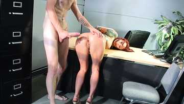 Tattooed redhead Monique Alexander has office fuck with one of her colleagues