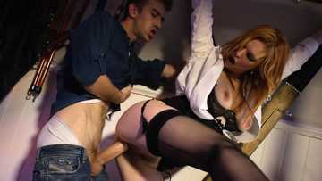 Redhead mom Tarra White is fucked in her sex dungeon