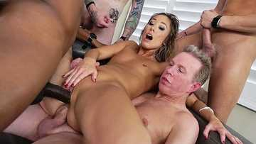Cute Asian Christie Love's 1st DP Gangbang!