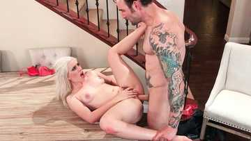 Small-breasted blonde Niki Snow makes it on the table with her friend's husband