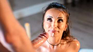 Adorable Alyssia Kent gets her face covered with cum after massage and sex