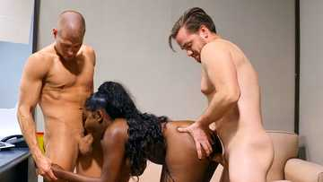 Black woman Osa Lovely has crazy sex with two co-workers in the office