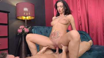 Chesty tattooed hottie Mary Frost uses her feet and twat to please a male