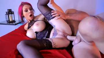 Busty redhead seductress Anna Bell Peaks gets pussy fucking spoons style