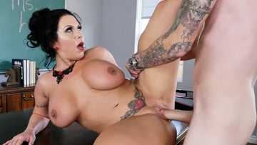Chubby tattooed teacher Sheridan Love takes students cock inside her shaved clam